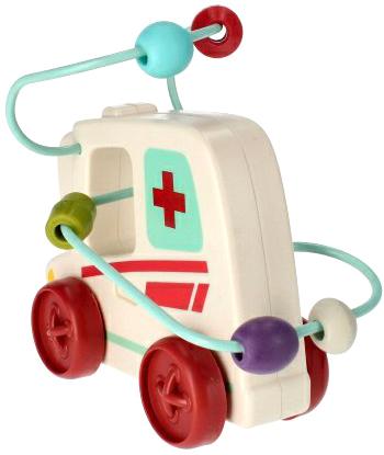 BAM BAM Baby auto sanitka na setrvačník labyrint motorický s korálky plast