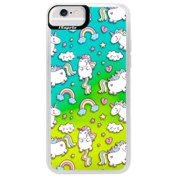 Neonové pouzdro Blue iSaprio - Unicorn pattern 02 - iPhone 6/6S