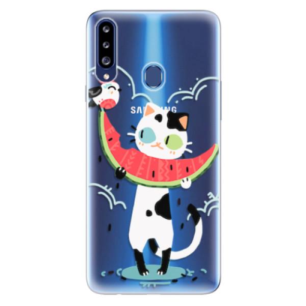 Odolné silikonové pouzdro iSaprio - Cat with melon - Samsung Galaxy A20s