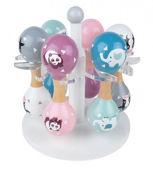 Magni Dřevěné chrastítko rumba koule, Panda - růžová/fialová