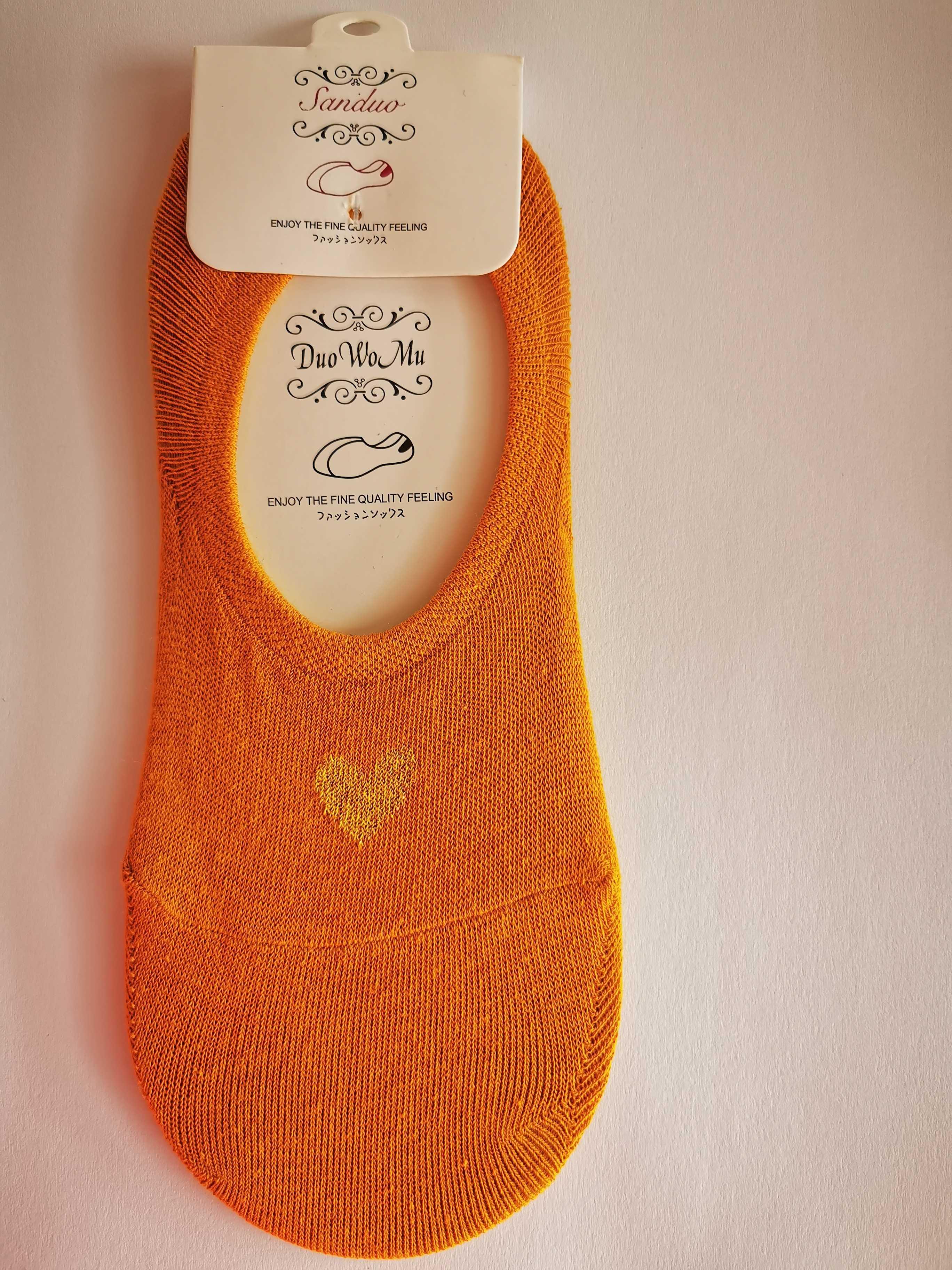 Ne-kotníkové ponožky se srdíčkem - Oranžová