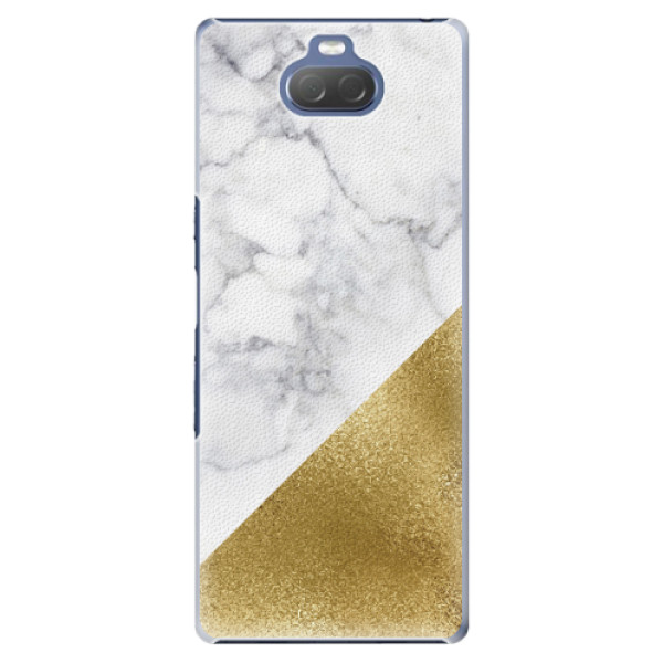 Plastové pouzdro iSaprio - Gold and WH Marble - Sony Xperia 10 Plus