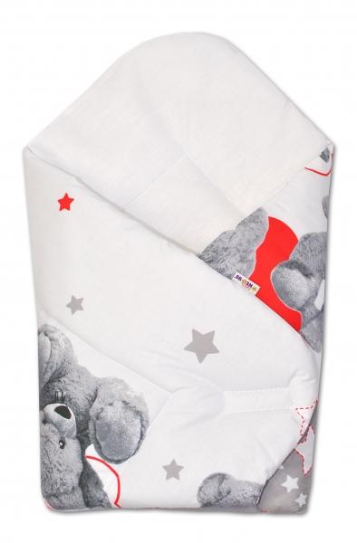 Novorozenecká zavinovačka Medvíek hvězdička - šedá s červenou