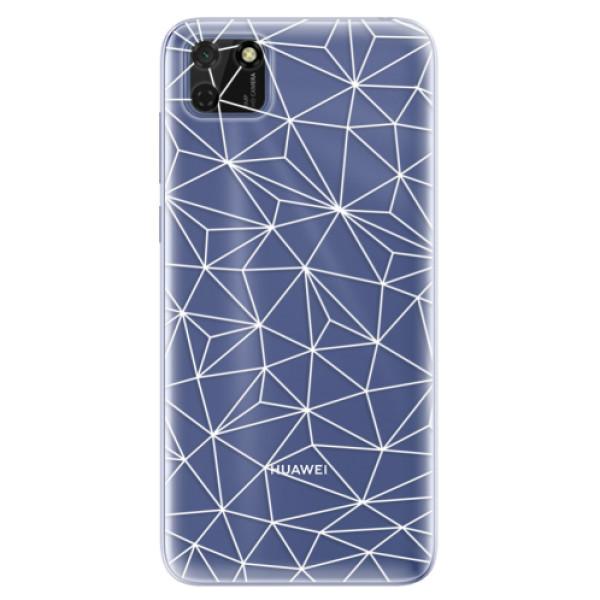 Odolné silikonové pouzdro iSaprio - Abstract Triangles 03 - white - Huawei Y5p