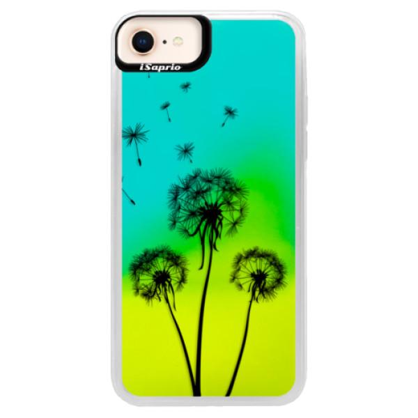 Neonové pouzdro Blue iSaprio - Three Dandelions - black - iPhone 8