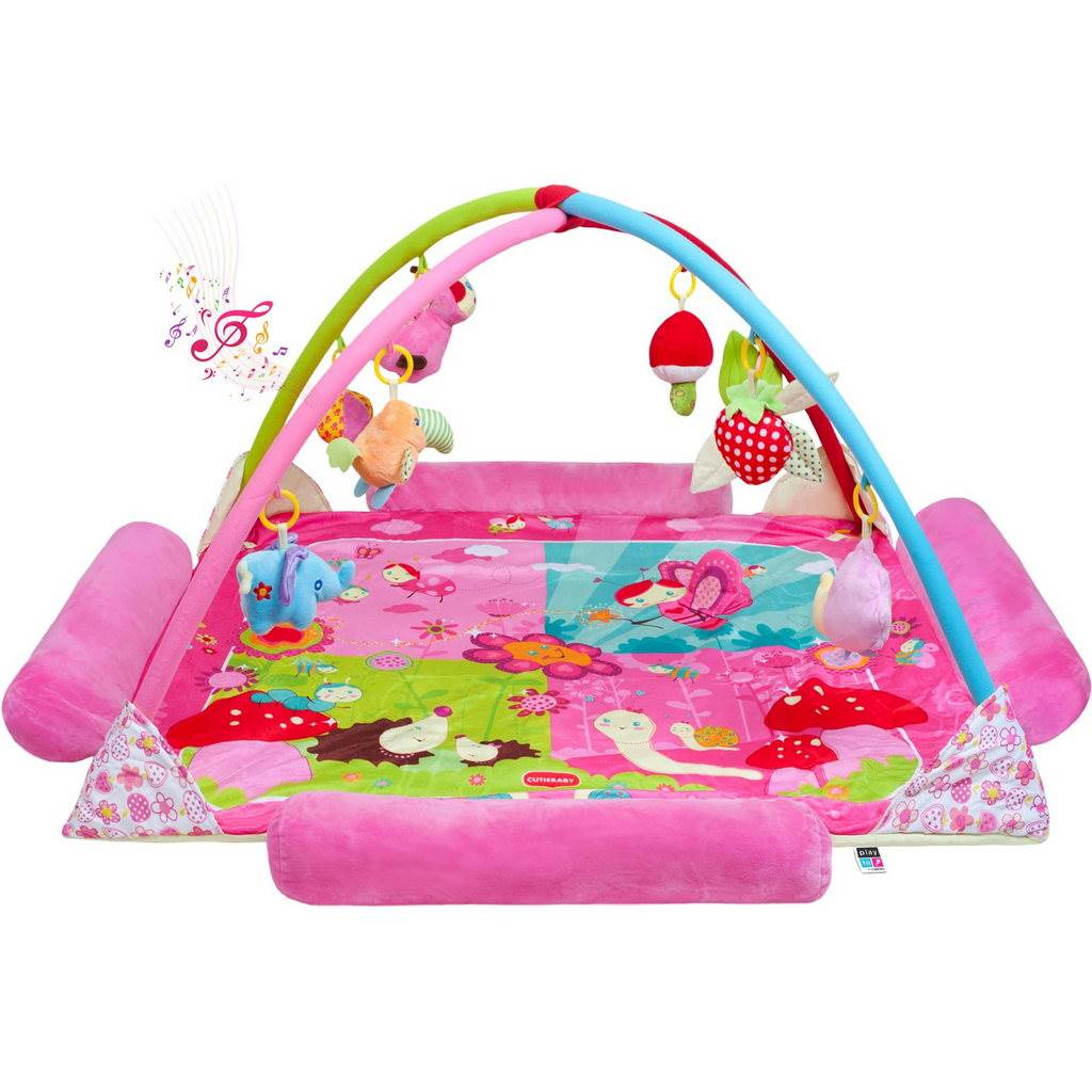 Velká luxusní hrací deka s melodií PlayTo zvířátka - růžová