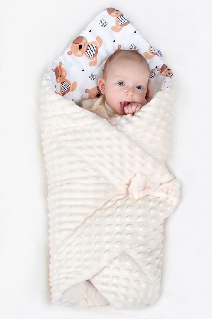Oboustranná zavinovačka z Minky New Baby 75x75 cm ježek mátová - zelená