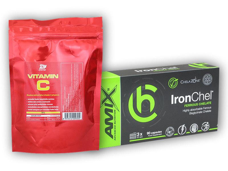 IronChel 90 Vcps + Vitamin C 250g