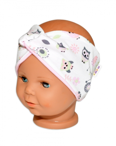 baby-nellys-hand-made-jarni-bavlnena-celenka-dvouvrstva-sovicky-sv-ruzova-44-48-cm-3-7-let