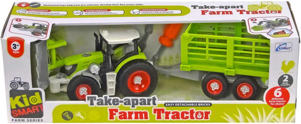 Traktor šroubovací set k sestavení s vlečkou a nástrojem plast