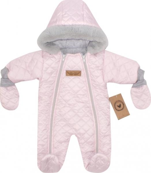 Z&Z Zimní prošívaná kombinéza s kožešinou a kapucí + rukavičky