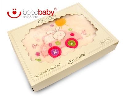 BOBO BABY Dětská deka BOBOBABY - Králíček v autě - krémová/růžová