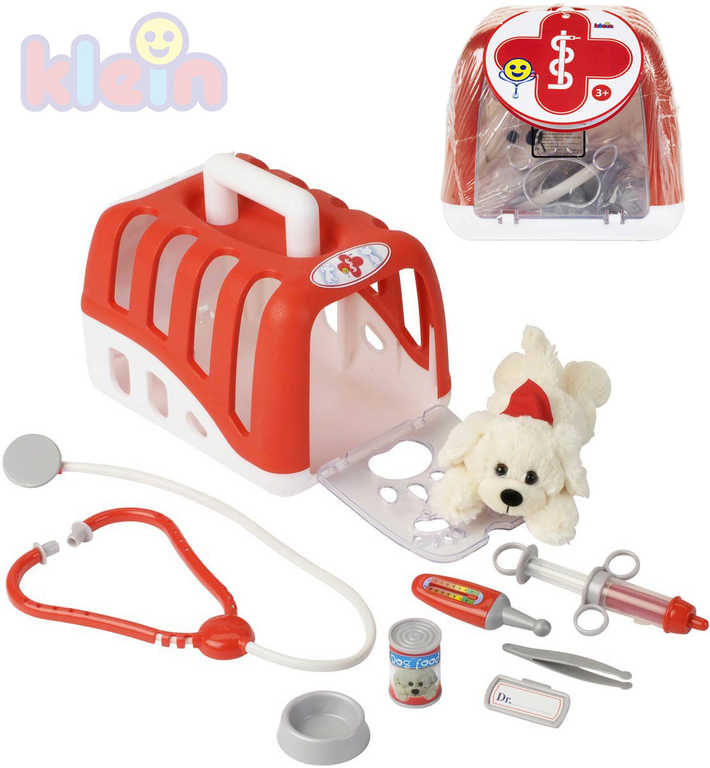 KLEIN Malý veterinář set pejsek s přepravním boxem a lékařskými doplňky plast