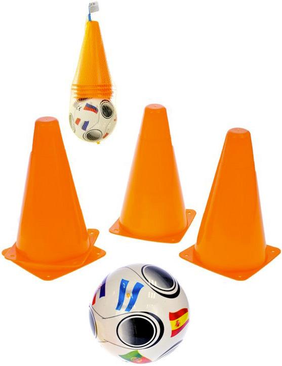 Kužely tréninkové fotbalové 18 cm set 4 ks s míčem plast