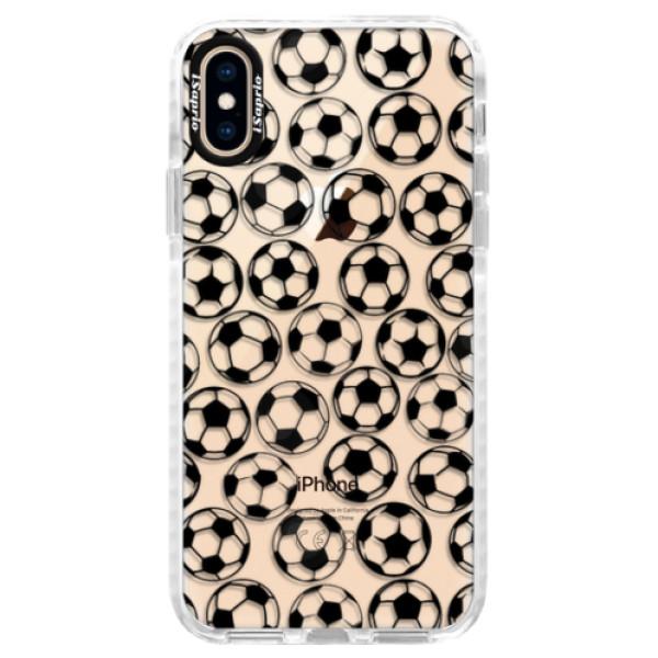 Silikonové pouzdro Bumper iSaprio - Football pattern - black - iPhone XS