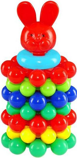 PL Baby pyramida skládací kroužky s kuličkami věžička / zajíc pro miminko