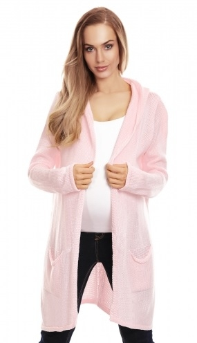 Be MaaMaa Těhotenský kardigan s kapucí, sv. růžový - UNI