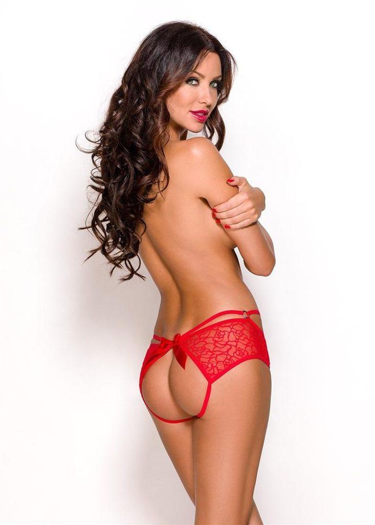 Kalhotky Anais Quinn open panty - Červená
