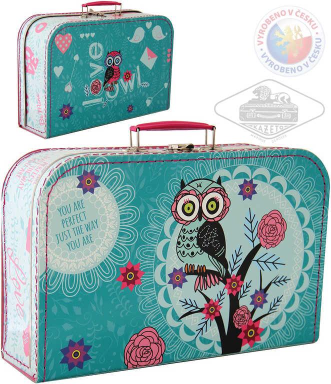 KAZETO Kufr dětský Sova velký kufřík pro holčičky