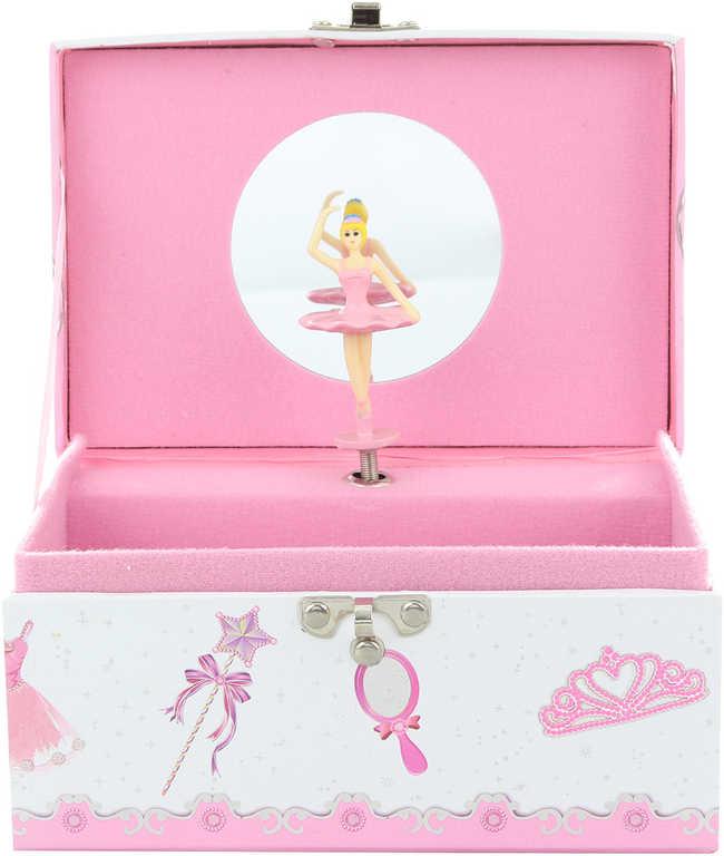 Šperkovnice hrací skříňka s panenkou baletkou na natažení v sáčku