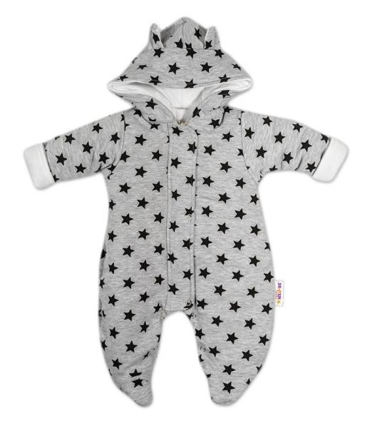 Kombinézka s kapucí a oušky Hvězdičky Baby Nellys ® - šedá/tm. modrá, vel. 68 - 68 (4-6m)