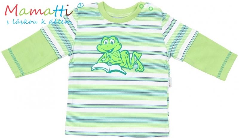 tricko-dlouhy-rukav-mamatti-frog-zelene-zelene-prouzky-74-6-9m