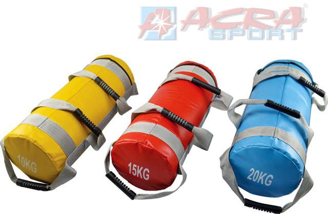 ACRA Bag posilovací pytel 55cm na cvičení 20kg modrý válec 4 úchopy