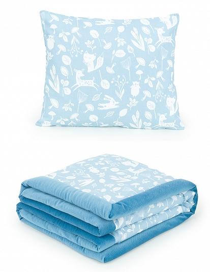 2-dílná sada - oboustranná dečka Velvet 75 x 100 cm s polštářkem - Les modrý