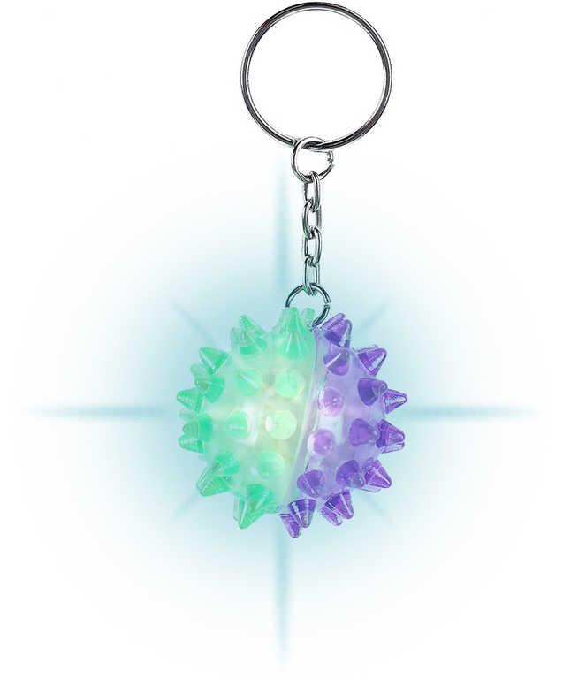 Klíčenka dětská míček s ostny 4cm přívěsek po nárazu bliká Světlo 2 barvy