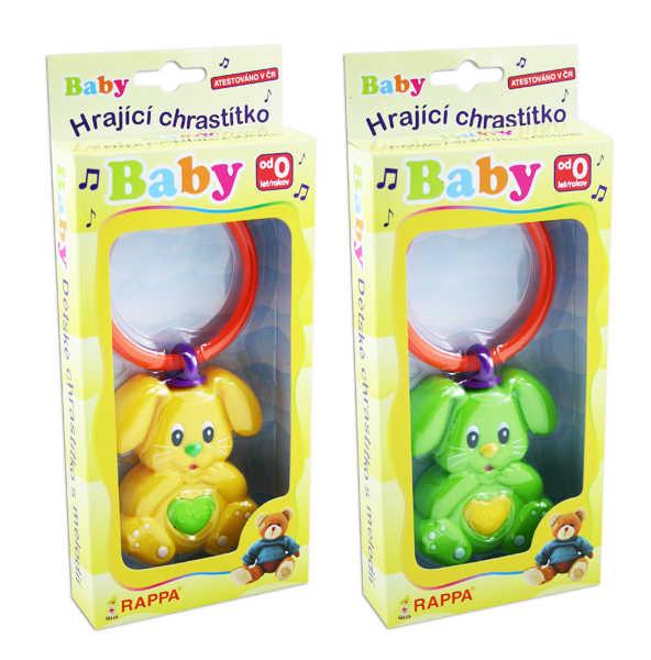 Baby Chrastítko Zajíček s melodií pro miminko 2 barvy plastové