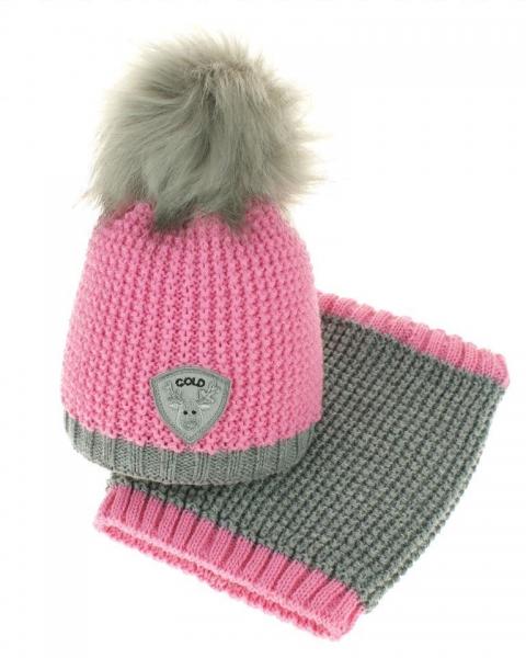 Zimní čepice s komínkem - chlupáčková bambulka - růžová/šedá (0-6m)