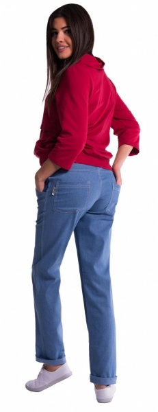 Be MaaMaa Těhotenské kalhoty letní bez břišního pásu - tmavý
