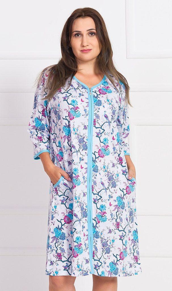 Dámské domácí šaty s tříčtvrtečním rukávem Laura - tyrkysová - 3XL