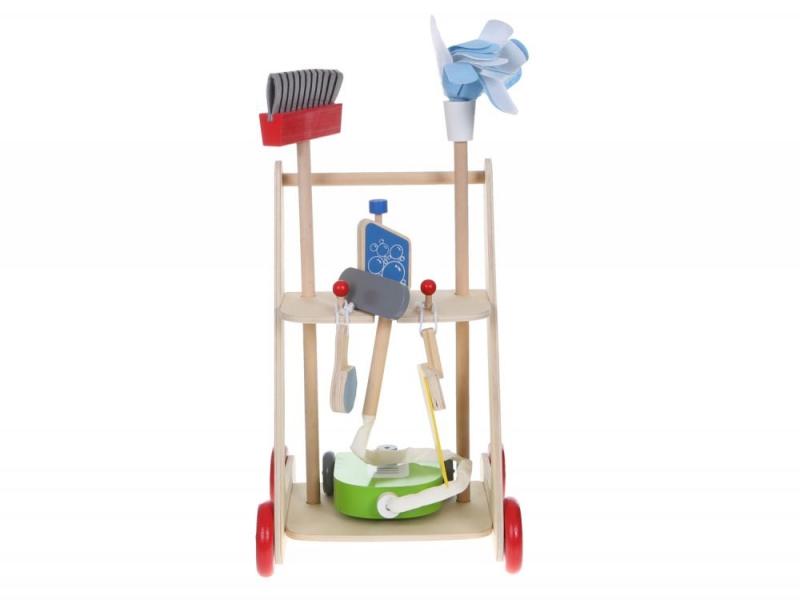 Eco toys Dřevěný úklidový vozík s doplňky