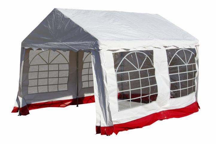 Zahradní  párty přístřešek - bílý s červeným lemem 3 x 4 m