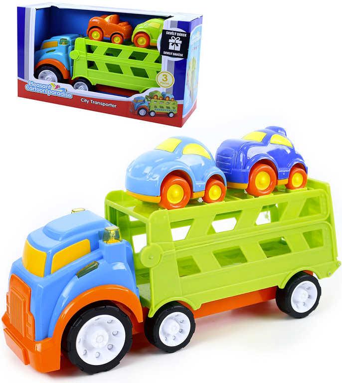 Baby auto nákladní velké 33cm s plošinou set se 2 autíčky na baterie plast Světlo Zvuk