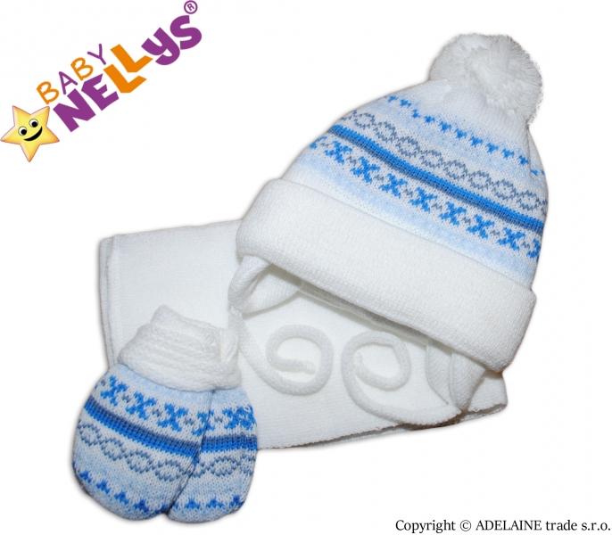 Sada - čepička, šál a rukavičky - vzorovaná bílá - 68 (4-6m)