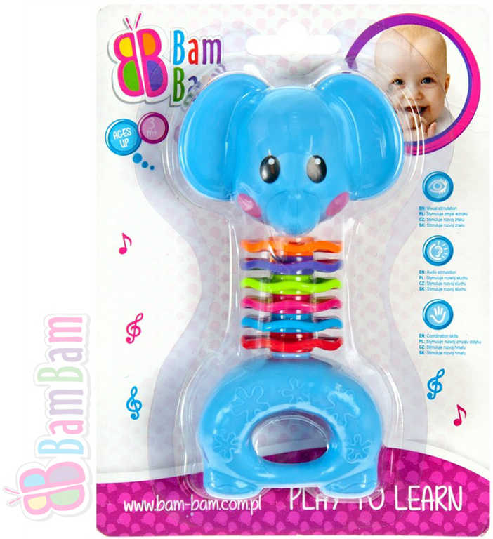 ET BAM BAM Chrastítko plastové SLON 15cm pro miminko