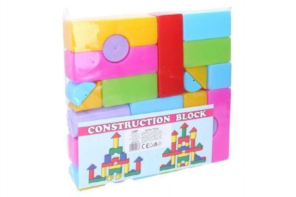 Kostky stavebnice 24 ks plast v sáčku 24 x 24 x 4 cm