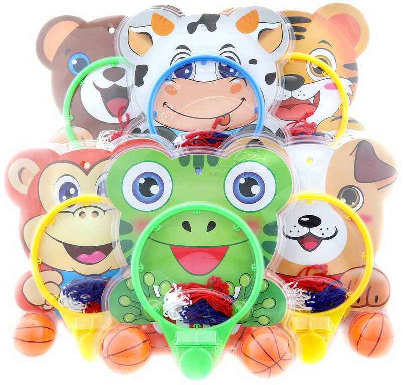 Koš basketbalový se zvířátkem trikolora set se 2 míči různé druhy