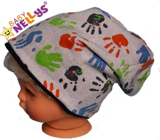 Bavlněná čepička s ručičkami Baby Nellys ® - šedá - 50/52 čepičky obvod
