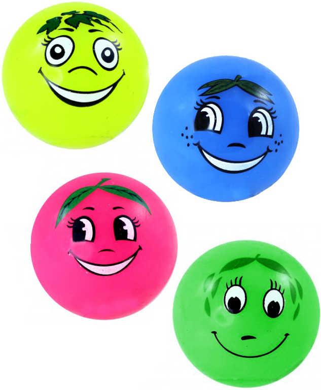 Míček smajlík ovoce s úsměvem 5,2cm se světlem 4 druhy