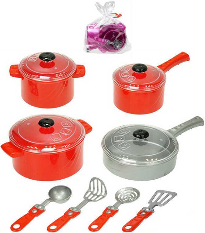 Kuchyňský set hrnce s nástroji dětské plastové nádobí v sáčku 2 barvy