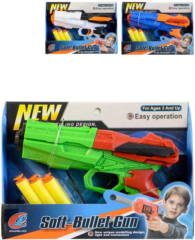 Pistole plastová 20cm set se 3 softovými náboji různé barvy