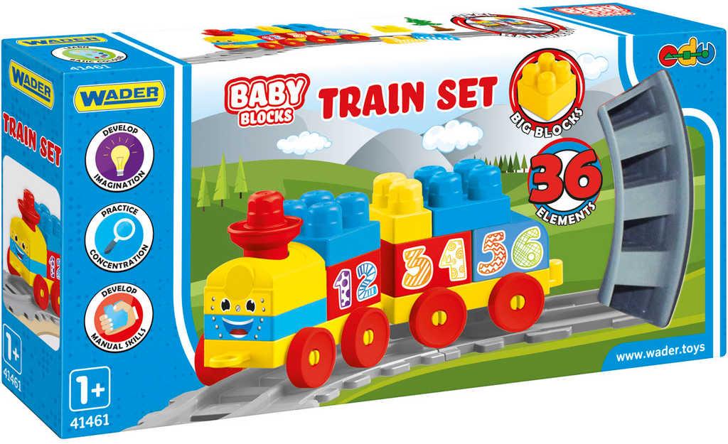WADER Baby Blocks vlak s kolejemi a samolepkami 36 dílků STAVEBNICE