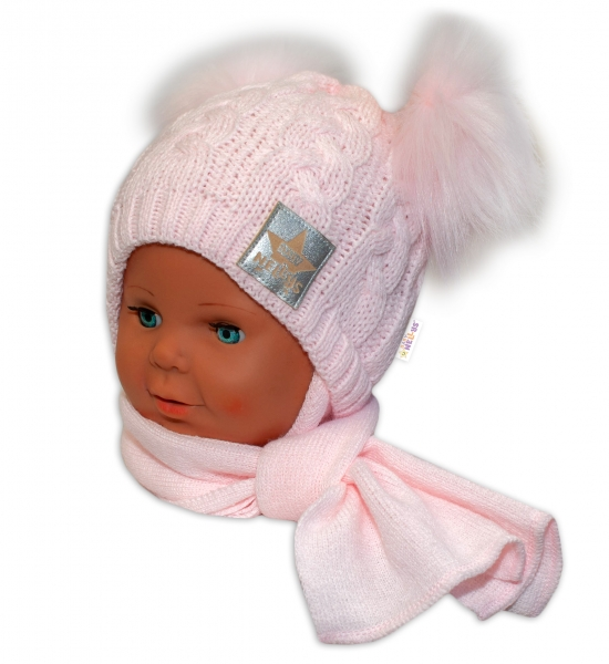 baby-nellys-zimni-cepicka-s-salou-chlupackove-bambulky-ruzova-ruzove-bambulky-6-18mesicu