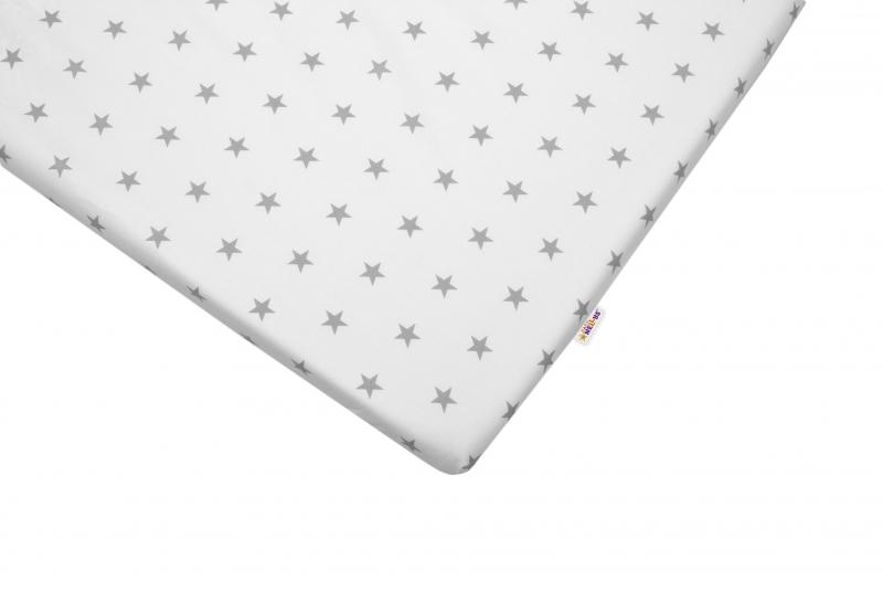 Bavlněné prostěradlo 60x120cm - Hvězdičky šedé - 120x60