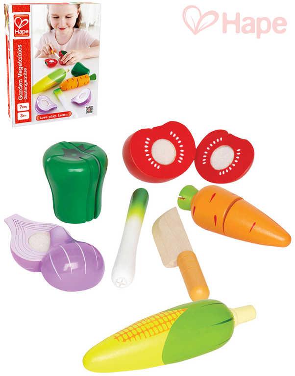 HAPE DŘEVO Zelenina krájecí kuchyňská sada makety potravin s nožíkem