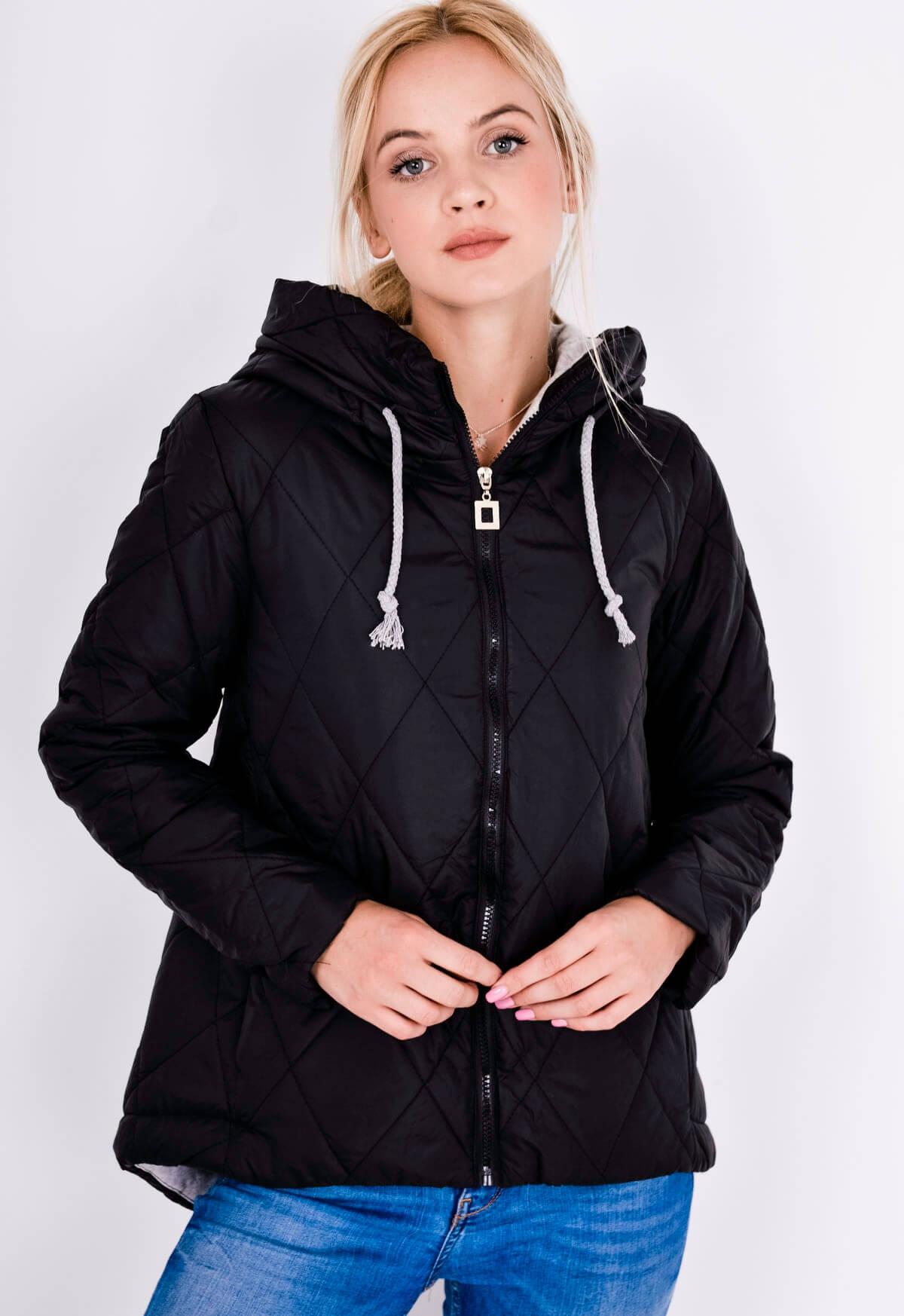 Dámská prošívaná bunda s kapucí, zip, barvy - Tmavě šedá/XL/XXL