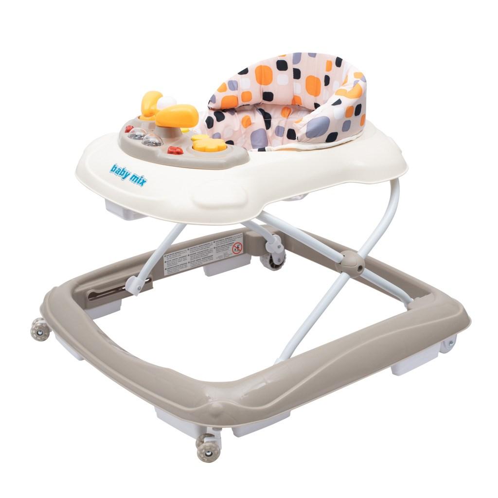 Dětské chodítko Baby Mix s volantem a silikonovými kolečky - beige - béžová